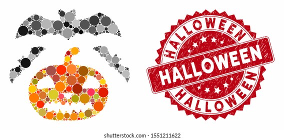 Mosaic halloween and distressed stamp seal with Halloween caption. Mosaic vector is created with halloween icon and with scattered circle items. Halloween seal uses red color, and distress surface.