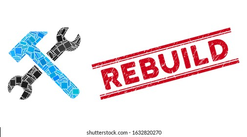 Mosaic hammer and wrench icon and red Rebuild watermark between double parallel lines. Flat vector hammer and wrench mosaic icon of scattered rotated rectangle items.