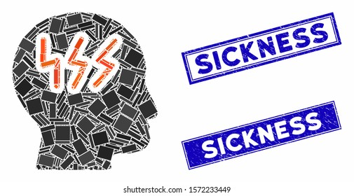 Mosaic headache icon and rectangular Sickness watermarks. Flat vector headache mosaic icon of randomized rotated rectangular elements. Blue Sickness watermarks with grunge surface.