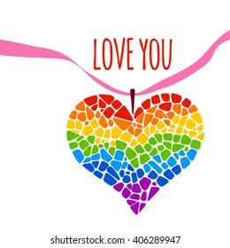 Mosaic heart on white background. Rainbow heart vector icon. LGBT logo. Gay culture sign. Pride design element. Hand written lettering Love you