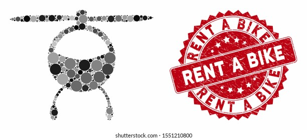 Mosaic helicopter chopper and rubber stamp seal with Rent a Bike text. Mosaic vector is created with helicopter chopper icon and with scattered spheric elements. Rent a Bike stamp uses red color,