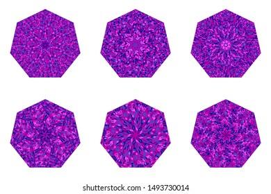 Mosaic heptagon symbol template set - geometrical heptagonal vector design element from geometric shapes