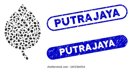 Mosaic hop bud and grunge stamp seals with Putrajaya phrase. Mosaic vector hop bud is designed with random elliptic elements. Putrajaya stamp seals use blue color, and have rounded rectangle shape.