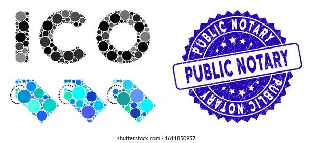 Mosaic ICO tokens icon and distressed stamp seal with Public Notary phrase. Mosaic vector is created with ICO tokens icon and with random round spots. Public Notary seal uses blue color,