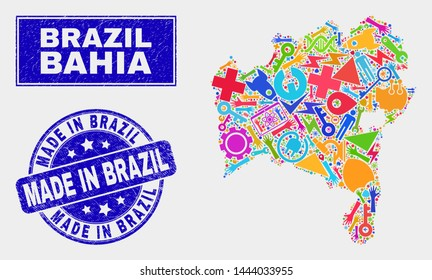 Mosaic industrial Bahia State map and Made in Brazil stamp. Bahia State map collage designed with randomized colorful equipment, hands, service items.
