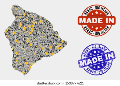 Mosaic industrial Hawaii Big Island map and blue Made In scratched seal. Vector geographic abstraction model for service, or political illustrations.