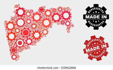 Mosaic industrial Maharashtra State map and grunge seal. Vector geographic abstraction in red colors. Mosaic of Maharashtra State map designed from scattered gear items.