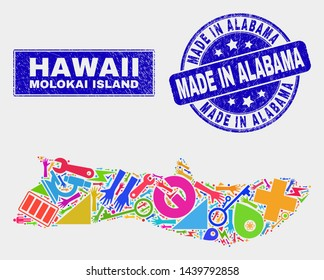 Mosaic industrial Molokai Island map and Made in Alabama seal stamp. Molokai Island map collage composed with random colorful tools, hands, production icons.