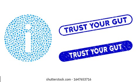 Mosaic info and rubber stamp seals with Trust Your Gut phrase. Mosaic vector info is created with randomized oval pieces. Trust Your Gut stamp seals use blue color, and have round rectangle shape.