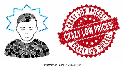 Mosaic inventor and corroded stamp seal with Crazy Low Prices! text. Mosaic vector is designed with inventor icon and with random round items. Crazy Low Prices! seal uses red color,