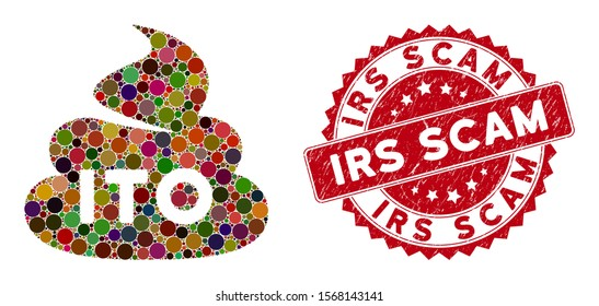 Mosaic ITO shit and grunge stamp watermark with Irs Scam text. Mosaic vector is created from ITO shit icon and with random spheric items. Irs Scam stamp seal uses red color, and grunge texture.