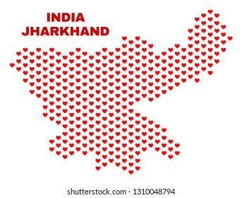 Mosaic Jharkhand State map of heart hearts in red color isolated on a white background. Regular red heart pattern in shape of Jharkhand State map. Abstract design for Valentine illustrations.