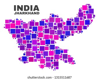 Mosaic Jharkhand State map isolated on a white background. Vector geographic abstraction in pink and violet colors. Mosaic of Jharkhand State map combined of scattered small squares.