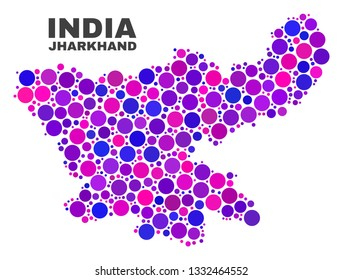 Mosaic Jharkhand State map isolated on a white background. Vector geographic abstraction in pink and violet colors. Mosaic of Jharkhand State map combined of scattered spheric points.