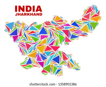 Mosaic Jharkhand State map of triangles in bright colors isolated on a white background. Triangular collage in shape of Jharkhand State map. Abstract design for patriotic illustrations.