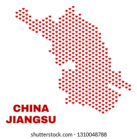Mosaic Jiangsu Province map of heart hearts in red color isolated on a white background. Regular red heart pattern in shape of Jiangsu Province map. Abstract design for Valentine illustrations.