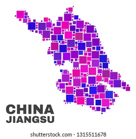 Mosaic Jiangsu Province map isolated on a white background. Vector geographic abstraction in pink and violet colors. Mosaic of Jiangsu Province map combined of random small squares.