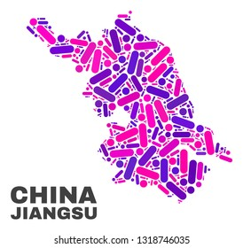 Mosaic Jiangsu Province map isolated on a white background. Vector geographic abstraction in pink and violet colors. Mosaic of Jiangsu Province map composed from scattered round points and lines.