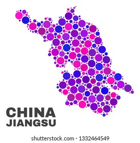 Mosaic Jiangsu Province map isolated on a white background. Vector geographic abstraction in pink and violet colors. Mosaic of Jiangsu Province map combined of random spheric points.