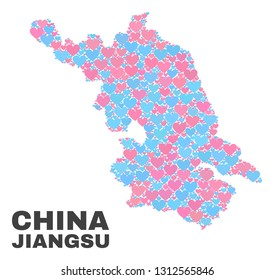 Mosaic Jiangsu Province map of love hearts in pink and blue colors isolated on a white background. Lovely heart collage in shape of Jiangsu Province map. Abstract design for Valentine decoration.