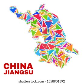 Mosaic Jiangsu Province map of triangles in bright colors isolated on a white background. Triangular collage in shape of Jiangsu Province map. Abstract design for patriotic illustrations.