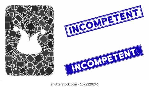 Mosaic joker gambling card pictogram and rectangle Incompetent rubber prints. Flat vector joker gambling card mosaic pictogram of scattered rotated rectangle items.