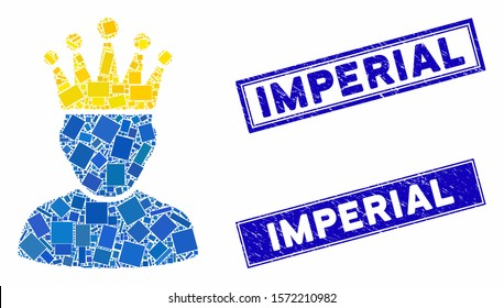 Mosaic king admin icon and rectangular Imperial rubber prints. Flat vector king admin mosaic icon of randomized rotated rectangular elements. Blue Imperial rubber seals with distress texture.