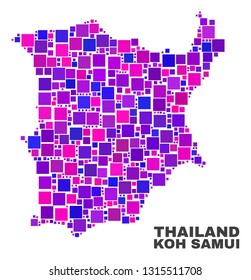 Mosaic Koh Samui map isolated on a white background. Vector geographic abstraction in pink and violet colors. Mosaic of Koh Samui map combined of scattered square elements.