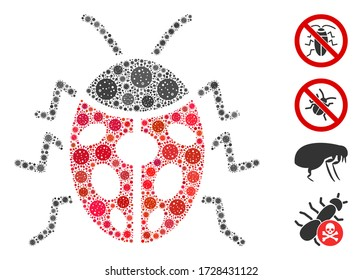 Mosaic ladybird bug united from SARS virus icons in various sizes and color hues. Vector viral icons are united into abstract mosaic ladybird bug icon. Some bonus icons are added.
