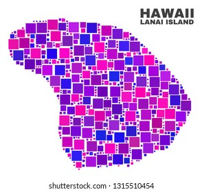 Mosaic Lanai Island map isolated on a white background. Vector geographic abstraction in pink and violet colors. Mosaic of Lanai Island map combined of scattered square items.