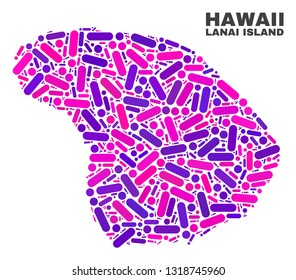 Mosaic Lanai Island map isolated on a white background. Vector geographic abstraction in pink and violet colors. Mosaic of Lanai Island map combined of scattered circle dots and lines.