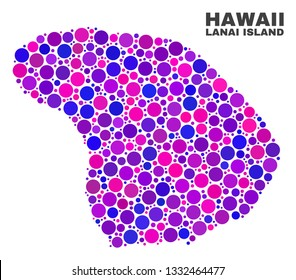 Mosaic Lanai Island map isolated on a white background. Vector geographic abstraction in pink and violet colors. Mosaic of Lanai Island map combined of random circle elements.