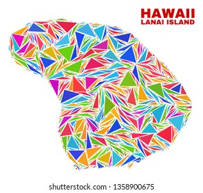 Mosaic Lanai Island map of triangles in bright colors isolated on a white background. Triangular collage in shape of Lanai Island map. Abstract design for patriotic illustrations.