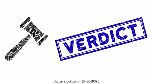 Mosaic law hammer and rubber stamp seal with Verdict caption. Mosaic vector law hammer is designed with randomized rectangle items. Verdict seal uses blue color.