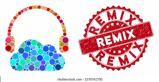 Mosaic listen cloud and rubber stamp seal with Remix text. Mosaic vector is composed from listen cloud icon and with scattered round spots. Remix seal uses red color, and rubber design.