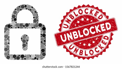 Mosaic lock and corroded stamp seal with Unblocked caption. Mosaic vector is formed with lock icon and with scattered circle elements. Unblocked stamp uses red color, and scratched texture.