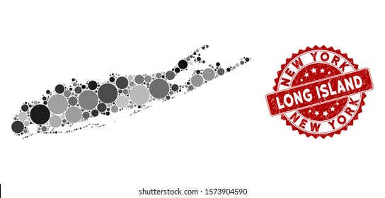 Mosaic Long Island map and round watermark. Flat vector Long Island map mosaic of randomized round items. Red rubber seal with rubber design. Designed for political and patriotic promotion.
