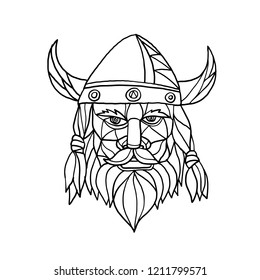 Mosaic low polygon style illustration of head of a viking, norseman or barbarian viewed from front on isolated white background in black and white.