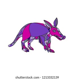 Mosaic low polygon style illustration of an aardvark, a medium-sized, burrowing, nocturnal mammal that is an insectivore with a long pig-like snout on isolated white background in color.