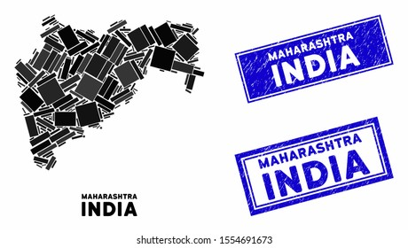 Mosaic Maharashtra State map and rectangular seal stamps. Flat vector Maharashtra State map mosaic of random rotated rectangular elements. Blue caption stamps with dirty texture.