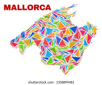 Mosaic Mallorca map of triangles in bright colors isolated on a white background. Triangular collage in shape of Mallorca map. Abstract design for patriotic purposes.