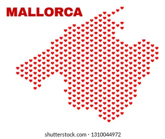 Mosaic Mallorca map of valentine hearts in red color isolated on a white background. Regular red heart pattern in shape of Mallorca map. Abstract design for Valentine illustrations.
