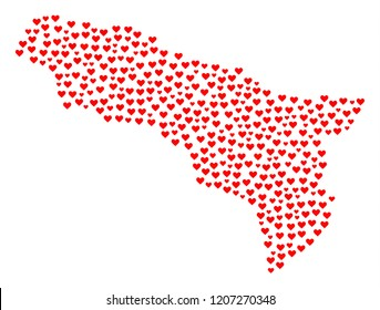 Mosaic map of Abkhazia composed with red love hearts. Vector lovely geographic abstraction of map of Abkhazia with red romantic symbols. Romantic design for patriotic projects.