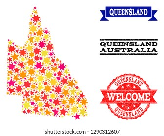 Mosaic map of Australian Queensland composed with colored flat stars, and grunge textured stamps, isolated on an white background.