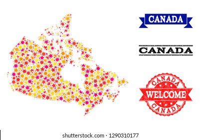 Colored Map Of Canada.Canada Canada Map Color Canada Logo Stock Vector Royalty Free