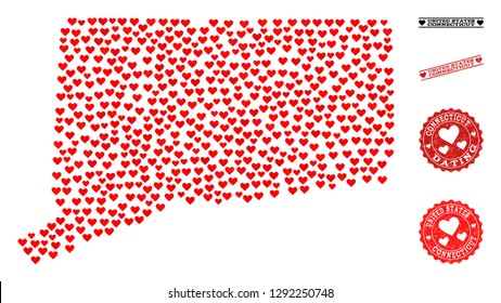 Mosaic map of Connecticut State composed with red love hearts, and grunge stamp seals for dating. Vector lovely geographic abstraction of map of Connecticut State with red wedding symbols.