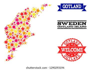 Mosaic map of Gotland Island created with colored flat stars, and grunge textured stamps, isolated on an white background. Vector colored geographic abstraction of map of Gotland Island with red,