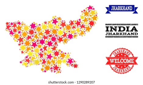 Mosaic map of Jharkhand State created with colored flat stars, and grunge textured stamps, isolated on an white background. Vector colored geographic abstraction of map of Jharkhand State with red,