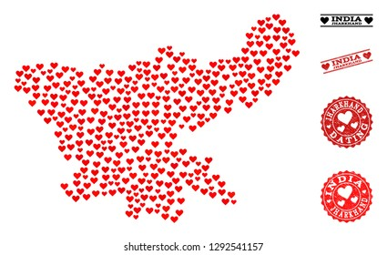 Mosaic map of Jharkhand State created with red love hearts, and grunge watermarks for dating. Vector lovely geographic abstraction of map of Jharkhand State with red wedding symbols.