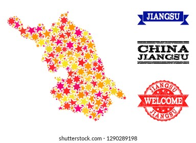 Mosaic Map of Jiangsu Province composed with colored flat stars, and grunge textured stamps, isolated on an white background. Vector colored geographic abstraction of Map of Jiangsu Province with red,